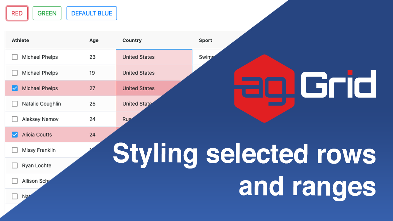 Styling Selected Rows and Ranges in Ag-Grid