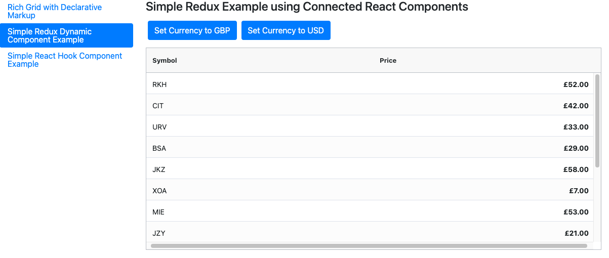 React Data Grid with redux component