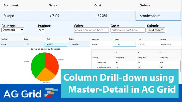 Column Drill-down using Master-Detail in AG Grid